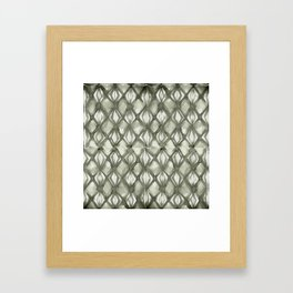 Braided Diamond Simply Green Tea on Lunar Gray Framed Art Print