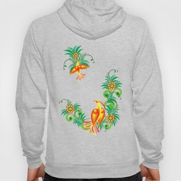 Abstract birds of paradise on floral branches Hoody