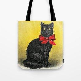 Pretty Black Cat- Vintage Cat Tote Bag