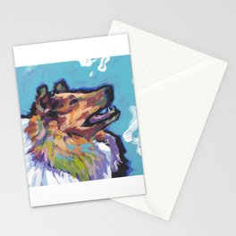 fun ROUGH COLLIE bright colorful Pop Art painting by Lea Stationery Cards