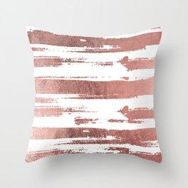 Elegant white faux rose gold brushstrokes stripes pattern Throw Pillow