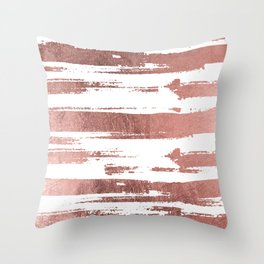 Elegant white faux rose gold brushstrokes stripes pattern Throw Pillow