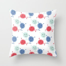 Cute Furry Monsters Throw Pillow