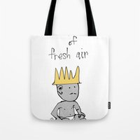 fresh prince Tote Bags featuring the prince of fresh air by thunderbloke!
