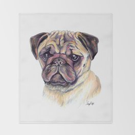 Pug - Dog Portrait Throw Blanket