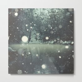 Moments of Silence - Snowflakes over the river Metal Print