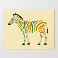 rainbow Canvas Prints featuring Zebra by Jazzberry Blue