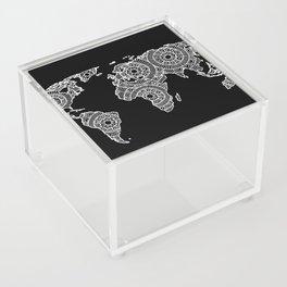 White on Black World Map Acrylic Box