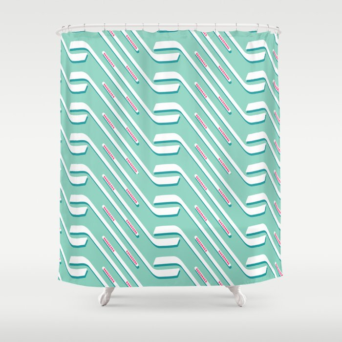 Sticks On Ice Blue Society6 Hockey Sport Shower Curtain