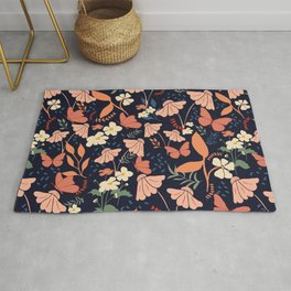 flower and butterfly Rug