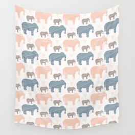 Pink and Blue Kids Elephants Silhouette Seamless Wall Tapestry