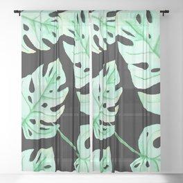 MONSTERA - BLACK BACKGROUND  Sheer Curtain