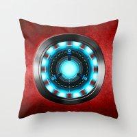 iron man Throw Pillows featuring Iron Man Iron Man by ThreeBoys