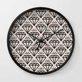 Diamond Jewel Pattern 232 Black and Linen White Wall Clock