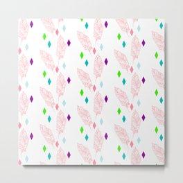 Geometric bohemian pink green teal modern feathers Metal Print