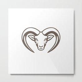 Armenian Mouflon Head Mascot Metal Print