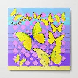 Yellow Butterflies Blue & Purple Pattern Abstract Metal Print
