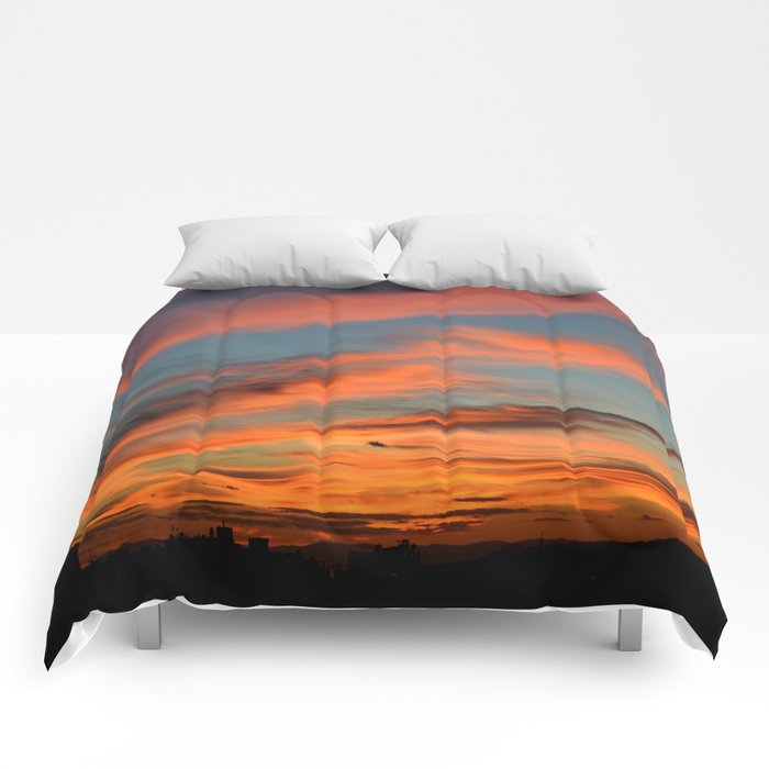 The sky is on fire Comforters