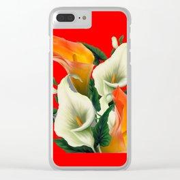 RED & WHITE-ORANGE CALLA LILIES GREY-GOLDEN GARDEN Clear iPhone Case