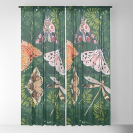 Moths and dragonfly Sheer Curtain