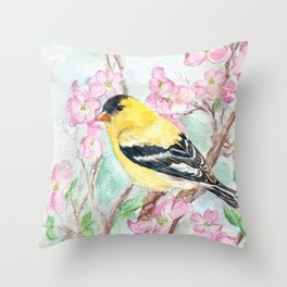 Goldfinch and Dogwood Flowers Throw Pillow