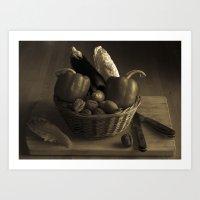 Still Life for a Vegetarian in Monochrome Art Print