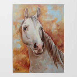 Grey Horse Portrait Autumn Scenic Painting Equine Art Decor for horse lover Poster