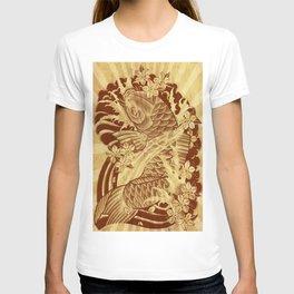 reto sun rays vintage japanese tattoo koi T-shirt