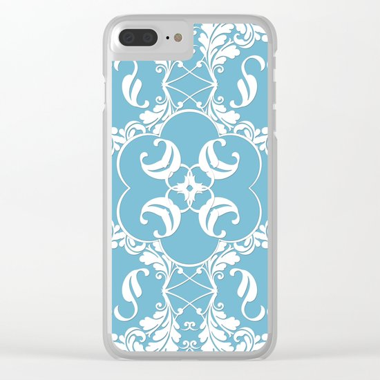 Blue Leaf Lace Clear iPhone Case