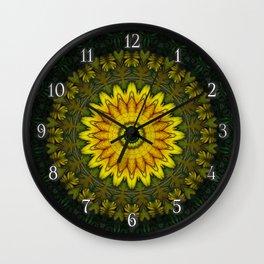 Large Yellow Wildflower Kaleidoscope Art 5 Wall Clock