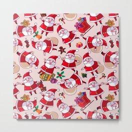 Santa Gift Pattern Metal Print