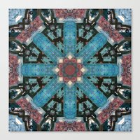 morrocan Canvas Prints featuring MOROCCAN GATEWAY PATTERN_in blue by MIURIO