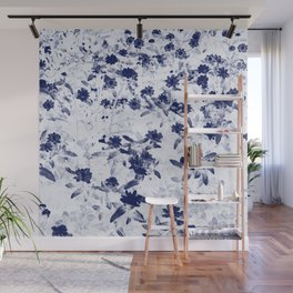 Blue wild flowers duo tone Wall Mural