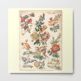 Floral Designs With Bird and Griffon 1700s Metal Print