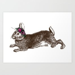 The Rabbit and Roses | Vintage Rabbit with Flower Crown | Bunny Rabbits | Bunnies | Hares | Art Print