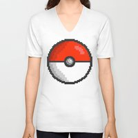 pokeball V-neck T-shirts featuring Pixel Pokeball by EIDO
