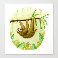 sloth Canvas Prints featuring Sloth by Kirsten Sevig