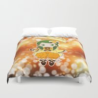 chibi Duvet Covers featuring Chibi Canaria by Yue Graphic Design