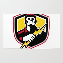 Electrician Thunderbolt Crest Mascot Rug