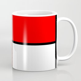 2 Colors Block Pattern Red and White Coffee Mug