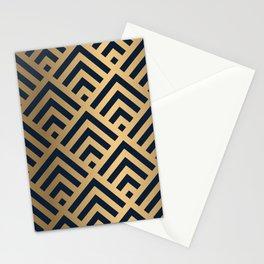 Gold and Blue geometric art deco diamond pattern Stationery Cards