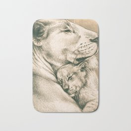 Lioness And The Cub Bath Mat