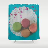 macarons Shower Curtains featuring Macarons by Jessica Torres Photography