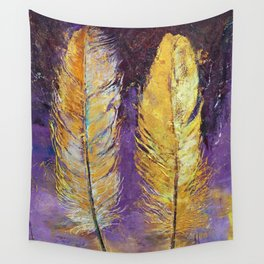 Gold Feathers Wall Tapestry