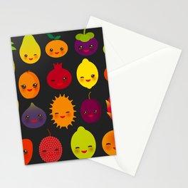 kawaii fruit Pear Mangosteen tangerine pineapple papaya persimmon pomegranate lime Stationery Cards