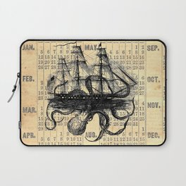 Octopus Kraken attacking Ship Antique Almanac Paper Laptop Sleeve