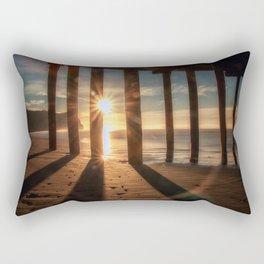 Through the Blinds sun bursts through Avila Pier Avila Beach California Rectangular Pillow