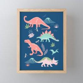 Jurassic Dinosaurs on Blue Framed Mini Art Print