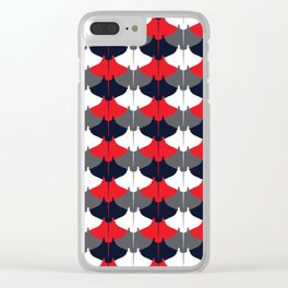 Manta Ray Pattern (Blue and Red) Clear iPhone Case