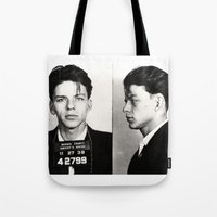 frank sinatra Tote Bags featuring Frank Sinatra Mug Shot  by All Surfaces Design